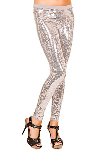Just One Women's Embellished Sequin Legging, Silver, (Las Vegas Showgirl Outfits)
