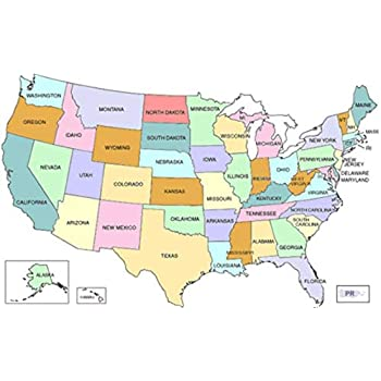 Amazon.com: Home Comforts Laminated Map - USA Map Labeled States ...