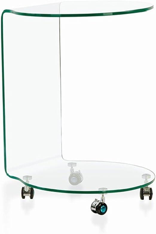 Mesa auxiliar de vidrio transparente curvado con ruedas 60cms ...