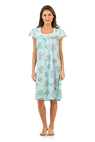 Casual Nights Women's Lace Short Sleeve Nightgown - Green Stripes - (Sleeve Floral Nightshirt)