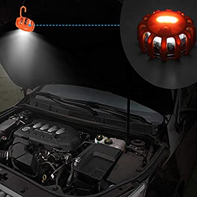 Vancle LED Road Flares 6 PACK Flashing Warning Light Roadside Flare Emergency Disc Beacon Kit, Magnetic Base with Hook for Car or Boat (Batteries Not Included) (set of 6): Automotive