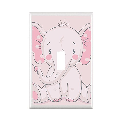 GYC ADORABLE ELEPHANTS NURSERY & CHILDREN DECOR LIGHT SWITCH COVER PLATE OR OUTLET (1X TOGGLE STANDARD, (Nursery Outlet Cover)