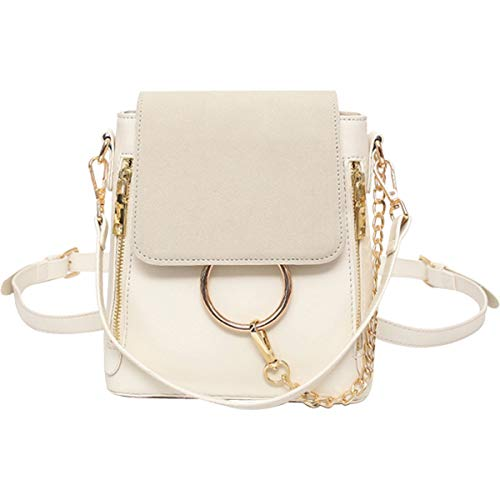 FairyBridal Luxury Women Leather Ring Satchel Crossbody Handbags,Backpack 4 Colors (Style1-Beige)