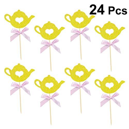 BESTONZON 24 piezas con forma de tetera con forma de tetera y adornos para pastelitos/Cupcake Toppers/Fiesta de cumpleaños...
