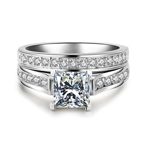 YJYdada Ring, 2-in-1 Fashion Lady Zirconia Ring Creative Set Ring Accessories Engagement Ring (5)