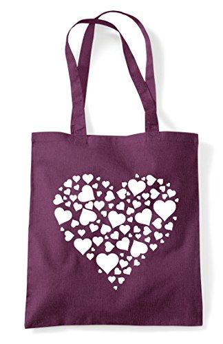 Shopper Plum Tote Bag Of Design Heart Hearts pXwnY