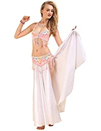 Belly Dance Costume Bra Belt Skirt 3pcs Performance Outfit Pink