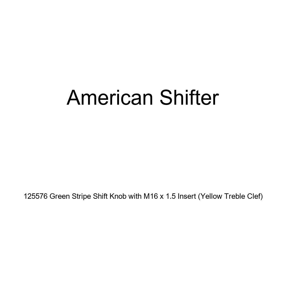 Yellow Treble Clef American Shifter 125576 Green Stripe Shift Knob with M16 x 1.5 Insert