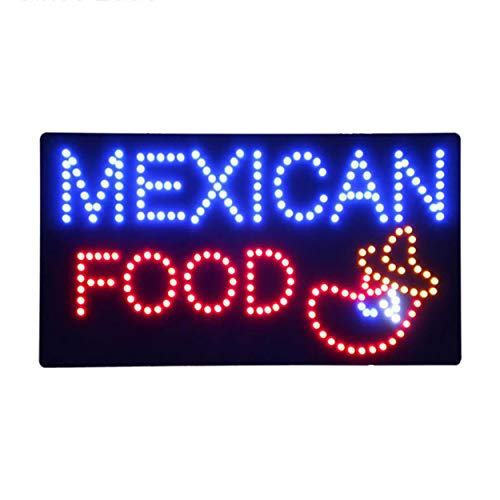 LED Mexican Restaurant Open Light Sign Super Bright Electric Advertising Display Board for Tacos Burritos Tortas Business Shop Store Window Bedroom 24 x 12 inches ()