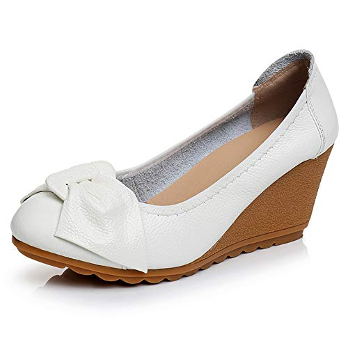 Womens Wedge Pumps Heel Shoes Slip On with Bows Mother of Brige Shoes for Wedding Office Business Size 8.5 White
