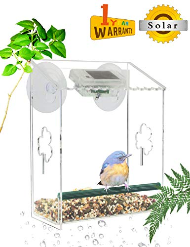 VIITION Transparent Acrylic Outdoor Birdfeeders for Wild Birds with Solar Light Guano Tray Suction Cups Seed ()