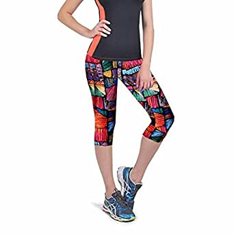 Gillberry Pants Women's Sexy Skinny Leggings Of Patchwork Print Yoga Leggings Fitness Sports Pants Small Multicolor