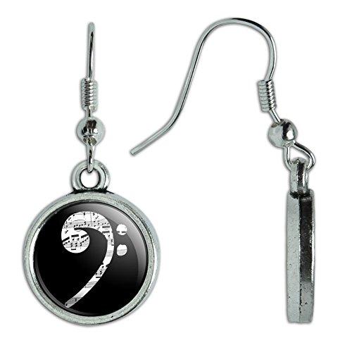 Novelty Dangling Drop Charm Earrings Music Musical Instruments - Sheet Music Bass Clef (Bass Instrument Costume)