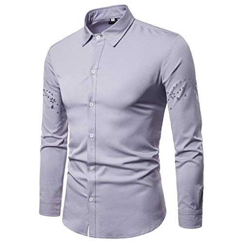 Price comparison product image Pervobs Long Sleeve Shirts,  Big Promotion! Men's Autumn Fashion Shirts Long Sleeve Casual Solid Lapel Hollow Shirt Top Blouse (S,  Gray)