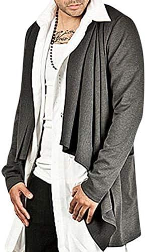 [ベラバント]ロングカーディガン メンズ 長袖 無地 カジュアル スタイリッシュ コート 前開き ボタン付き デザイン 個性 ファッション 秋服