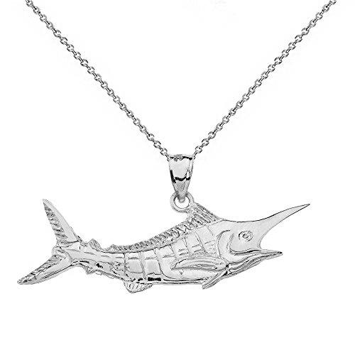 - Polished 925 Sterling Silver Billfish Black Marlin Pendant Necklace, 16