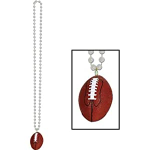 Beads w/Football Medallion (silver) Party Accessory  (1 count) (1/Card)