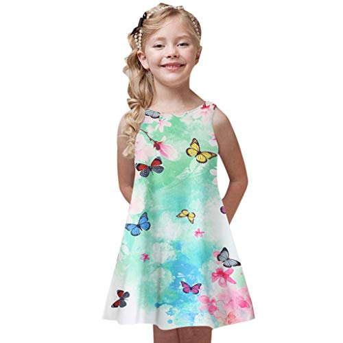 Baby Girl's Princess Party Dresses Sveless Floral Print Loose Casual Holiday Long Maxi Dress Kids 4-9 Years Green]()