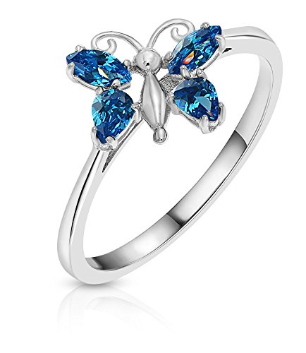 Sterling Silver Cubic Zirconia Simulated Blue Topaz Butterfly Ring (7)