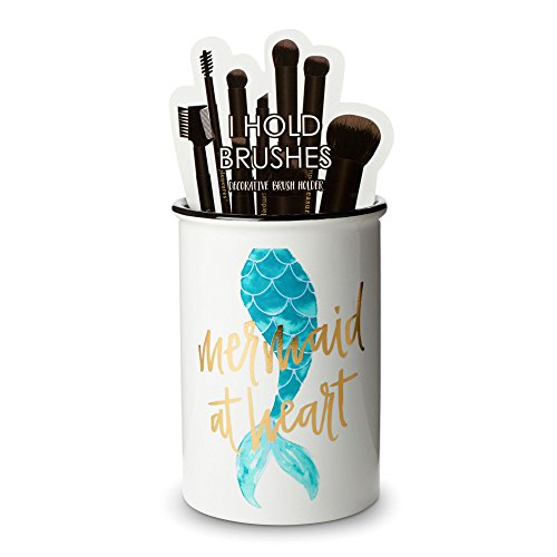Tri-coastal Design Ceramic Makeup Brush Holder Storage Mermaid at Heat Cosmetic Organizer for Make Up Brushes and Accessories - Round White Cosmetics Cup for Bathroom Vanity Countertop