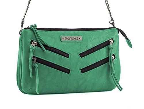 GG Cross Rock Rebel Venice with by Zippers Handbag Body Green Rose rTq7frOU