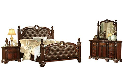 Chambord French Country 4PC Bedroom Set Cal King Poster Leather Bed, Dresser, Mirror, Nightstand in Rich ()