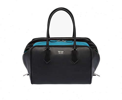 Prada Inside Bag Women's Black and Turquoise Bauletto Handbag Satchel - Handbag Shoulder Prada