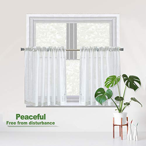 """Luckyum White Kitchen Tier Curtain Linen Like Privacy Semi Sheer Panels Half Window Treatment for Bedroom and Kitchen, 2 Pair, 24"""" 36"""",Rod Pocket"""