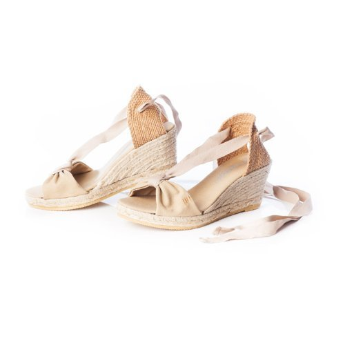"VISCATA Tossa 2.5"" Wedge, Soft Ankle-Tie, Open Toe, Classic Espadrilles Made In Spain Beige"