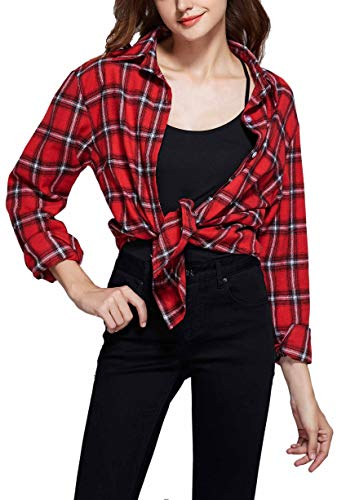 GUANYY Women's Long Sleeve Casual Loose Classic Plaid Button Down Shirt(Classic Red,X-Large)