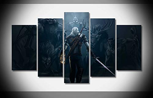 Mcanvas 5pcs The Witcher 3 Wild Hunt Game Character Monsters Sword Canvas Print Wall Art Painting Home Modern Decoration