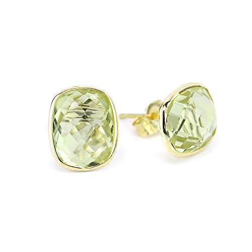 Quartz Stud Yellow - 14k Yellow Gold Stud Earrings With Cushion Cut Lemon Quartz - Gemstone Studs