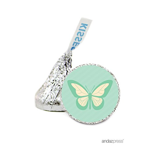 Andaz Press Chocolate Drop Labels Stickers, Wedding, Butterfly, 216-Pack, For Hershey's Kisses Party Favors, Gifts, Decorations, Birthday, Bridal Shower, Baby Shower (Butterfly Decorations For Baby Shower)