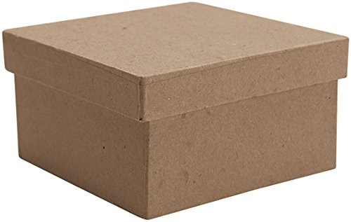 DCC Paper Mache Small Square Box, 4-Inch x 4-Inch x 2.125-Inch ()