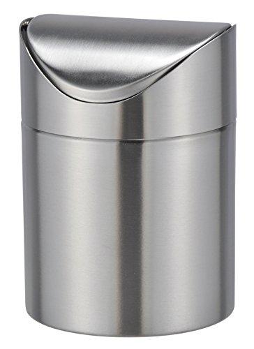 Bambelaa - Papelera de mesa con tapa abatible, acero inoxidable, 12 cm de diámetro y 19 cm de alto aprox., acero inoxidable, plata, 1 pieza
