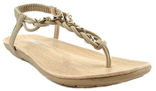 calista trenza Nub Sandalias Forever con correa Zapatos Taupe Mujer elástica 86 nbsp;Slip On banda y TW7nE67qw
