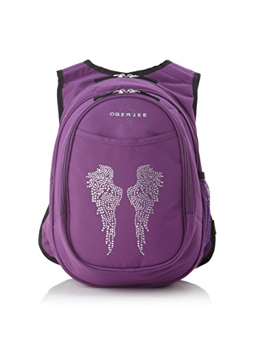Little Angel Kids Backpack - Obersee Kid's All-in-One Pre-School Backpacks with Integrated Cooler, Rhinestone Angel Wings