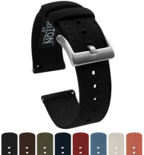BARTON Canvas Quick Release Watch Band Straps - Choose Color & Width - 18mm, 20mm, 22mm - Black 20mm