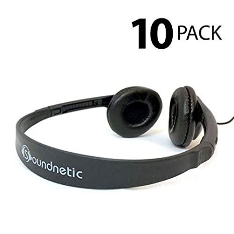 Soundnetic 10 Pack Classroom Stereo Budget Headphones with Leatherette  Earpads Volume Control