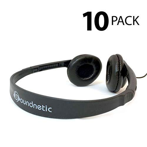 Head Stereo Headphones - Soundnetic 10 Pack Classroom Stereo Budget Headphones with Leatherette Earpads Volume Control
