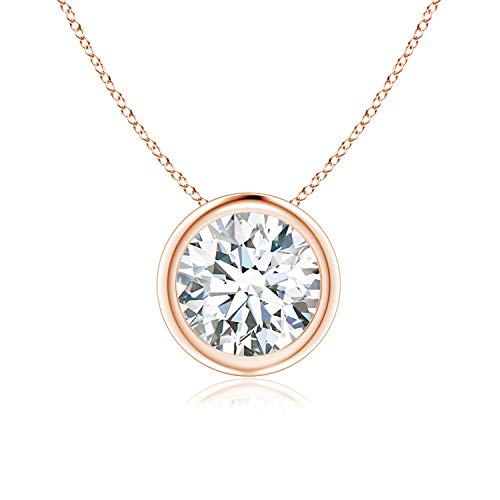 Bezel-Set Round Moissanite Solitaire Pendant in 14K Rose Gold (7mm Moissanite)