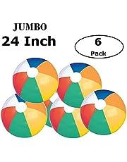 "Fun Land 24 inch Pack of 6 Jumbo Colorful Beach Balls Rainbow Color Beach Balls 24"" Inch"