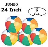 Fun Land 24 inch Pack of 6 Jumbo Colorful Beach Balls Rainbow Color
