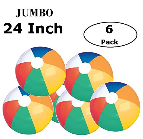 (Fun Land 24 inch Pack of 6 Jumbo Colorful Beach Balls Rainbow Color Beach Balls 24