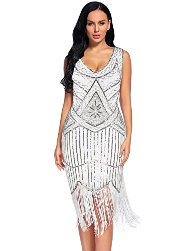 (Women's Vintage 1920s Fringed Gatsby Sequin Beaded Tassels Hem Flapper Dress (XXL,)