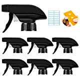 AMORIX 6PCS Trigger Sprayer Black Spray Top Heavy Duty Replacement Nozzle with Mist Stream Sprayer, Fits Standard 28/400 Neck Boston Round Trigger Spray Bottles + Free Tag Label Stickers & Essential Oil Key Tool