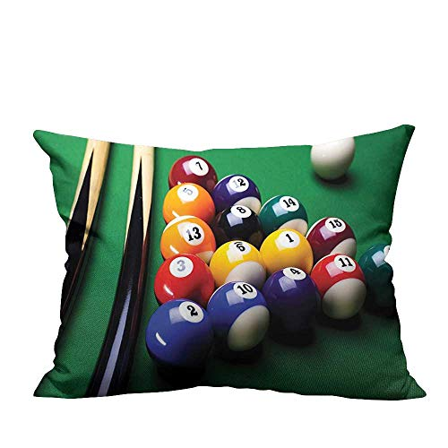 YouXianHome Pillow Case Cushion Cover Billiard Pool Balls Arrangement Snooker BEG n Enterta Ment Game Printing Dyeing (Double-Sided Printing) 20x35.5 inch