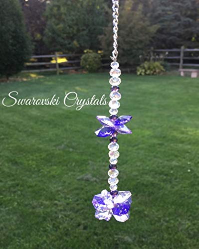 Swarovski Crystal Purple Rear View Mirror Car Charm,Crystal Sunburst and Butterfly Sun Catcher,Crystal Window Ornament,Car Mirror Accessory,Feng Shui Rainbow Maker