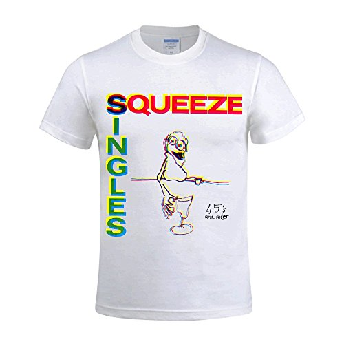 Overbearing Squeeze Singles 45s And Under Personalized Men's Round Neck Tee Shirt White (Band Rebelution)