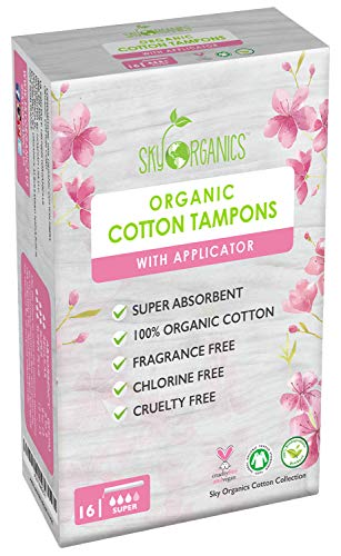 (Organic All-Natural Cotton Tampons with Biodegradable Applicator (Super Absorbency) by Sky Organics, Chemical and Plastic-Free, Vegan & Cruelty-Free Tampons, Biodegradable Feminine Care (16 cnt))